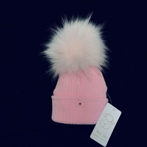 Gorgeous Baby Girl Pink Big  Fur Pom Hat with Teddy Motif